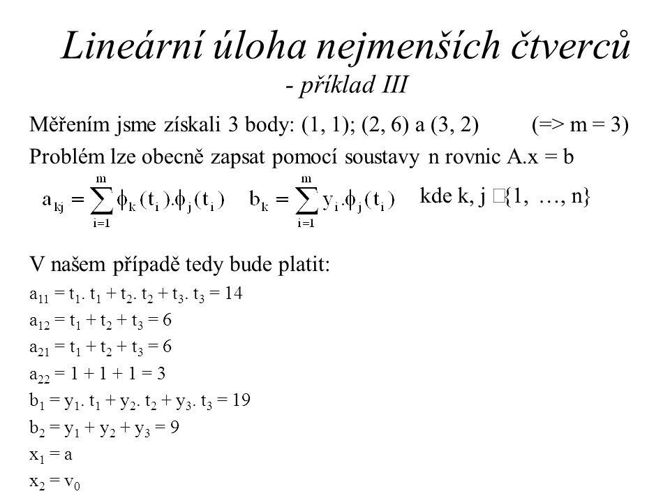 Lineární úloha nejmenších čtverců - příklad III