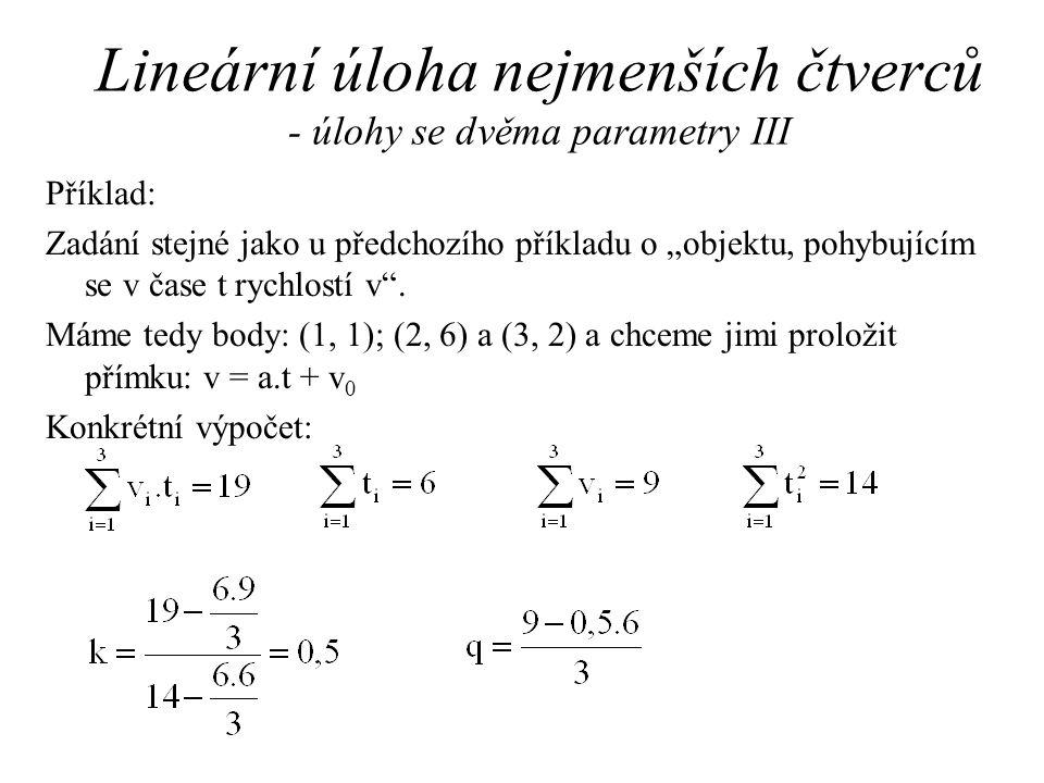 Lineární úloha nejmenších čtverců - úlohy se dvěma parametry III