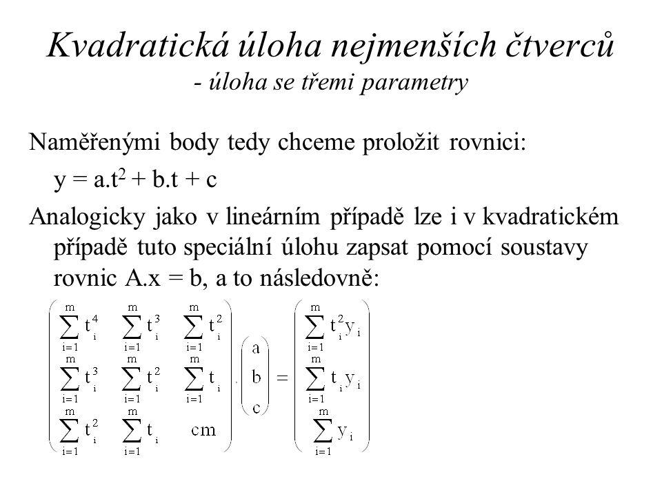 Kvadratická úloha nejmenších čtverců - úloha se třemi parametry