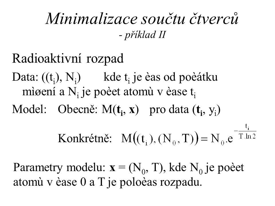 Minimalizace součtu čtverců - příklad II