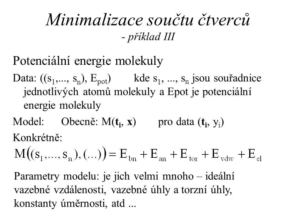 Minimalizace součtu čtverců - příklad III
