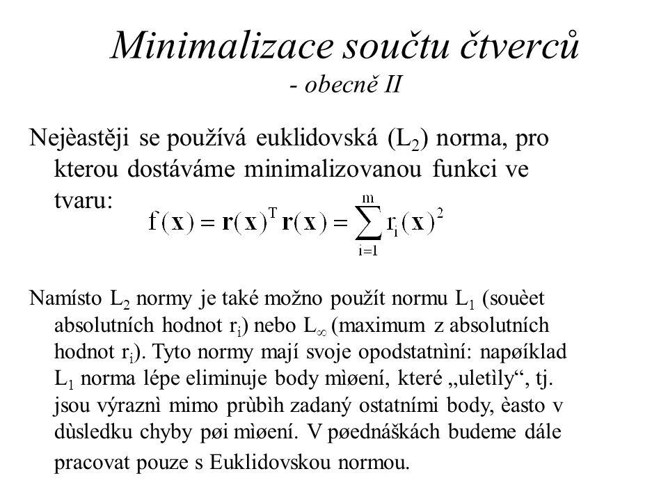 Minimalizace součtu čtverců - obecně II