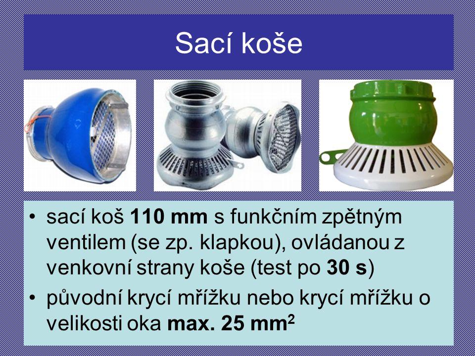 Sací koše sací koš 110 mm s funkčním zpětným ventilem (se zp. klapkou), ovládanou z venkovní strany koše (test po 30 s)