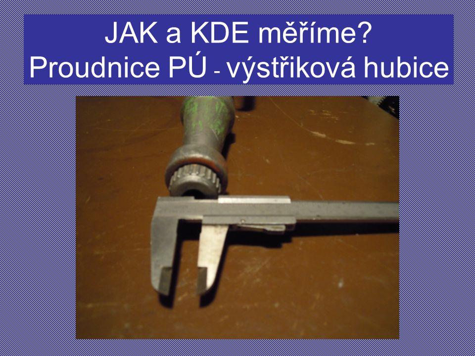 JAK a KDE měříme Proudnice PÚ - výstřiková hubice