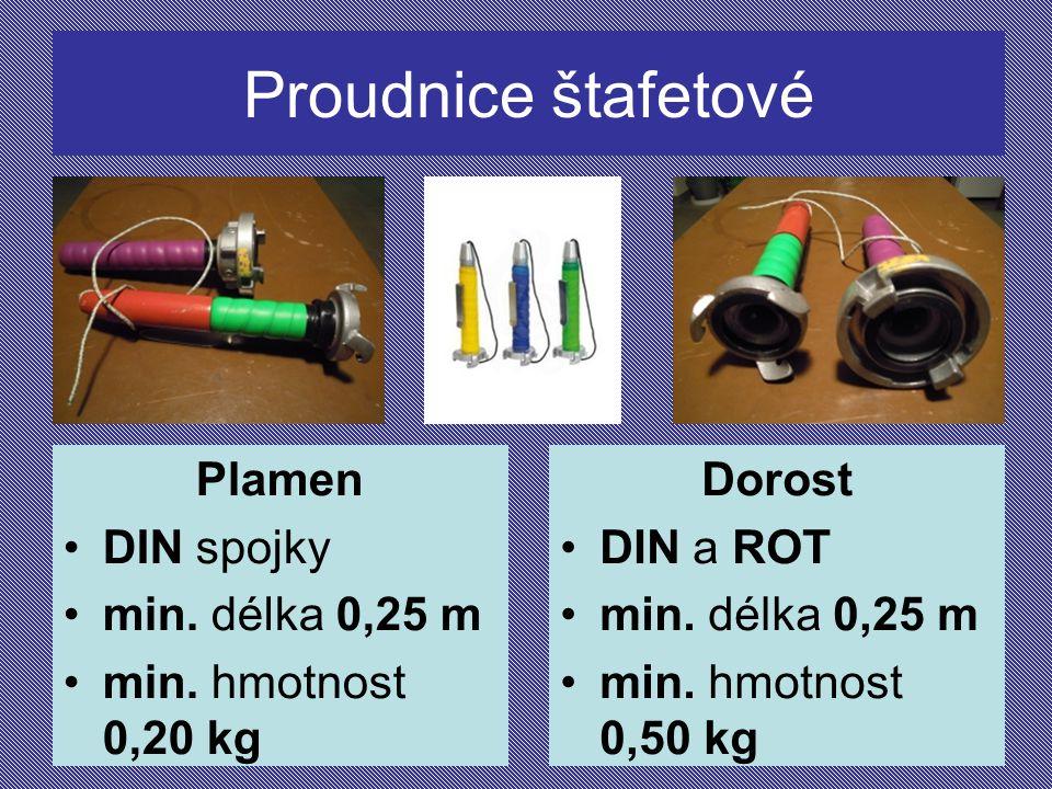 Proudnice štafetové Plamen DIN spojky min. délka 0,25 m