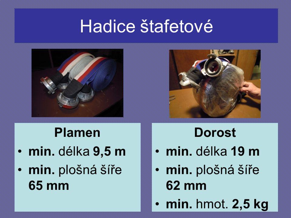 Hadice štafetové Plamen min. délka 9,5 m min. plošná šíře 65 mm Dorost