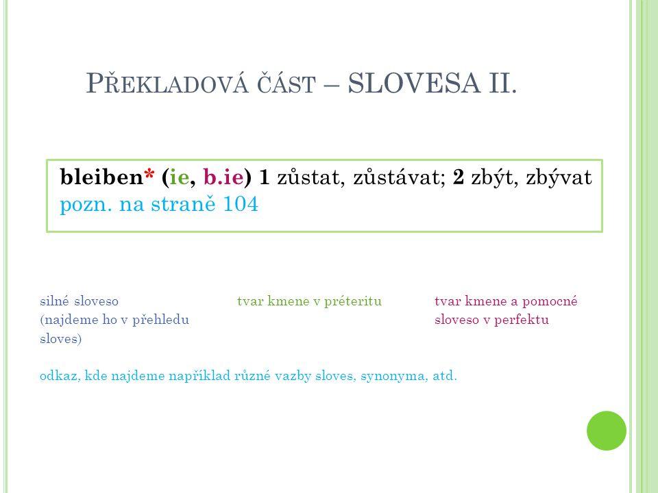 Překladová část – SLOVESA II.