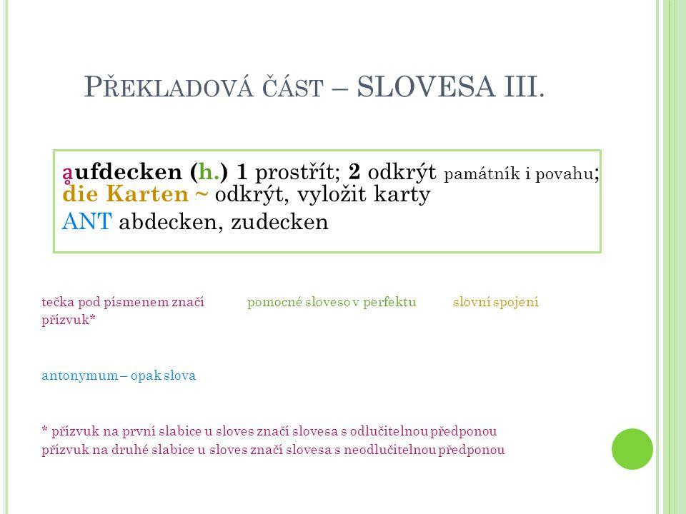 Překladová část – SLOVESA III.