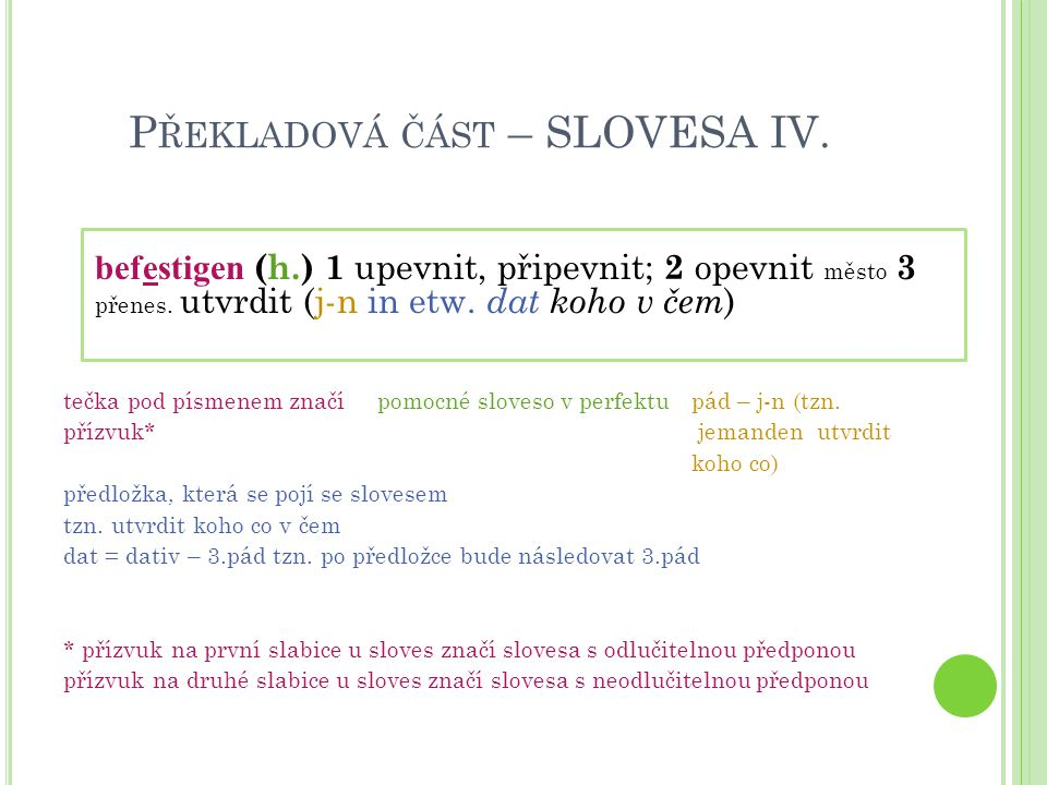 Překladová část – SLOVESA IV.