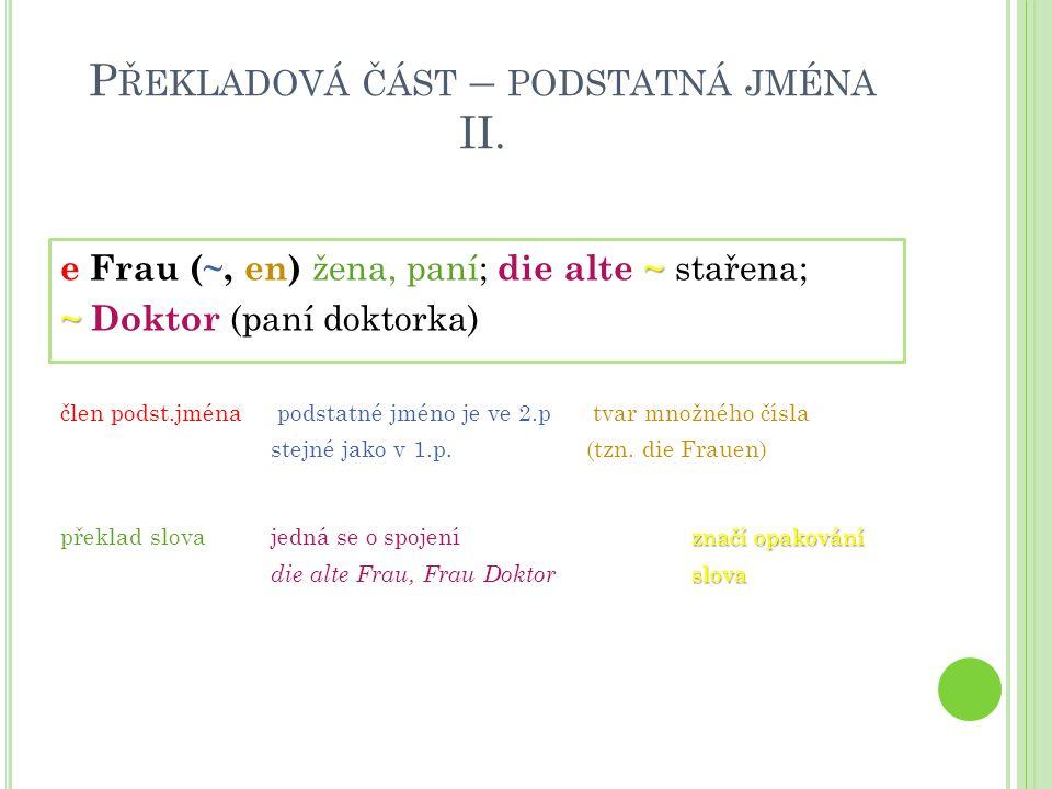 Překladová část – podstatná jména II.