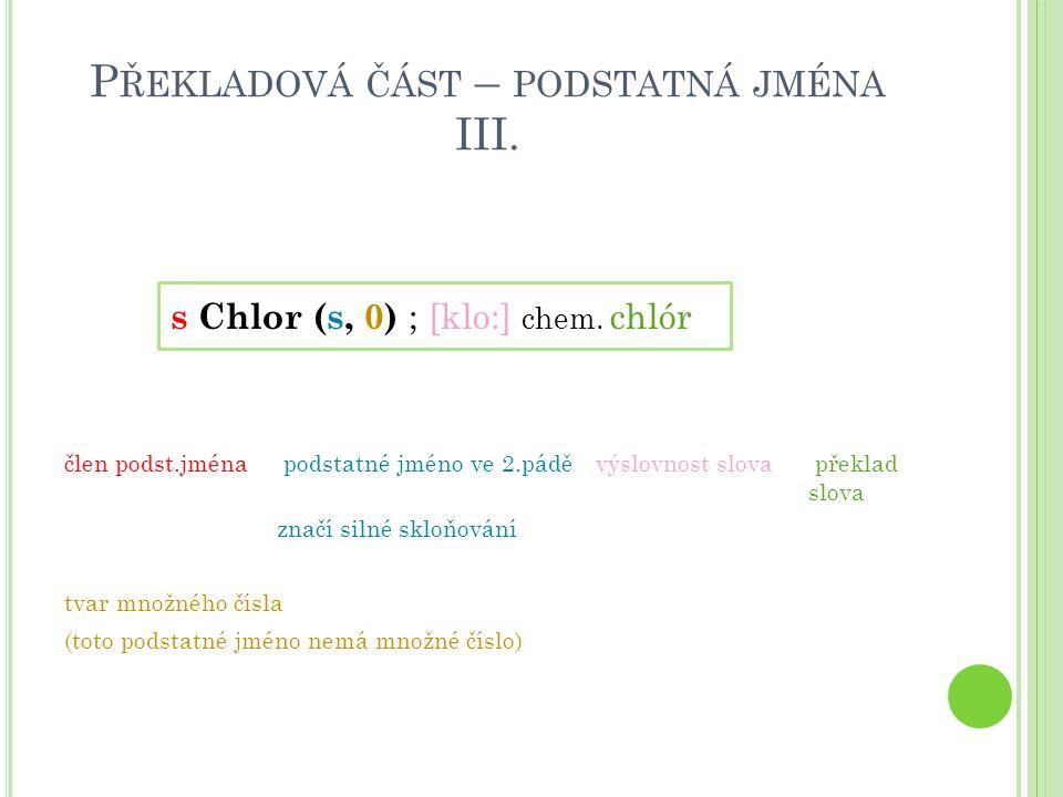 Překladová část – podstatná jména III.
