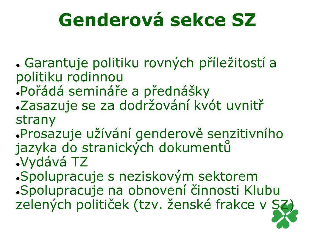 Genderová sekce SZ Garantuje politiku rovných příležitostí a politiku rodinnou. Pořádá semináře a přednášky.