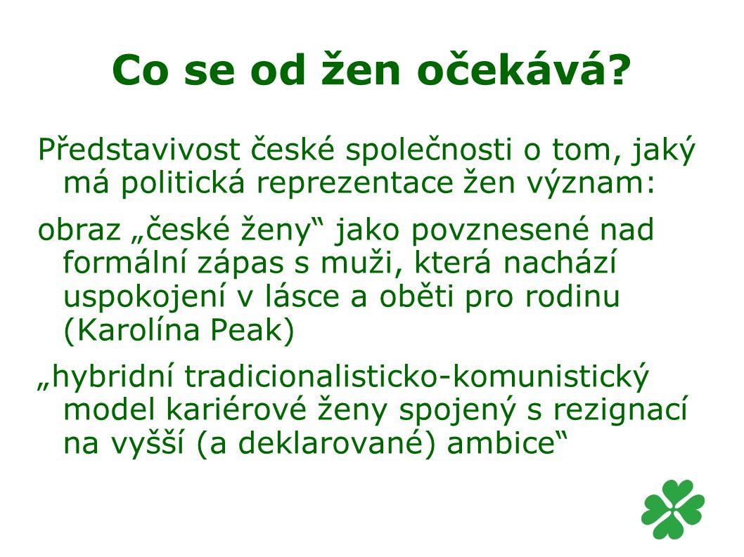 Co se od žen očekává Představivost české společnosti o tom, jaký má politická reprezentace žen význam: