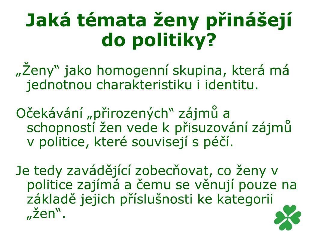 Jaká témata ženy přinášejí do politiky