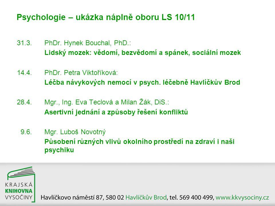 Psychologie – ukázka náplně oboru LS 10/11