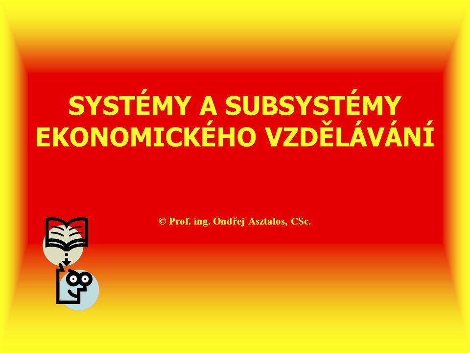 SYSTÉMY A SUBSYSTÉMY EKONOMICKÉHO VZDĚLÁVÁNÍ © Prof. ing