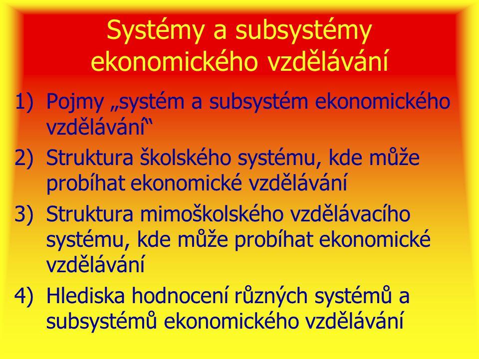Systémy a subsystémy ekonomického vzdělávání