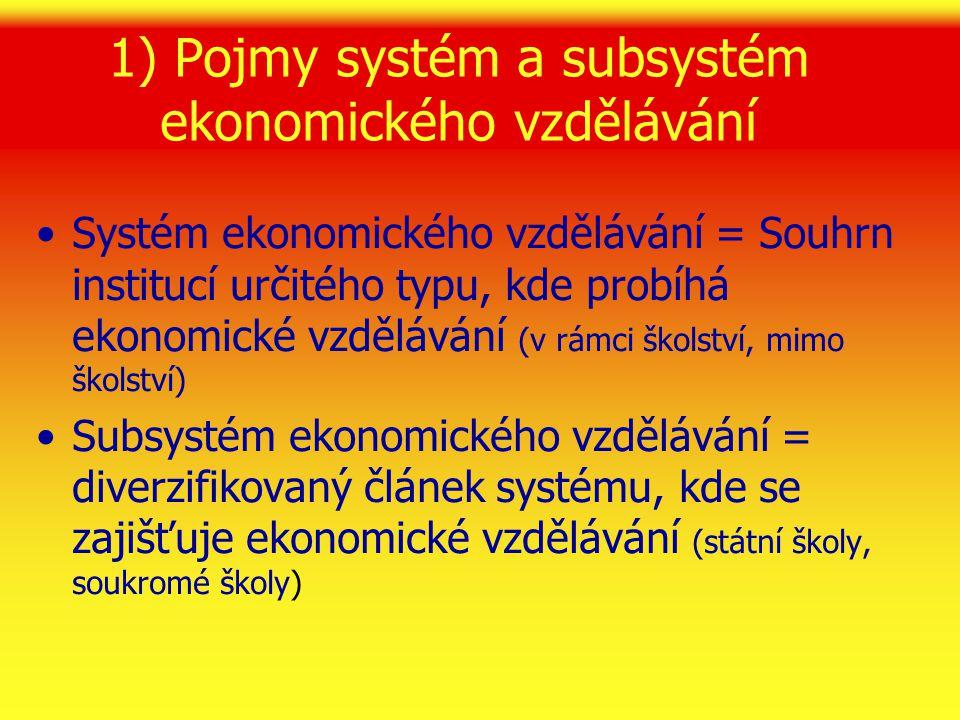 1) Pojmy systém a subsystém ekonomického vzdělávání