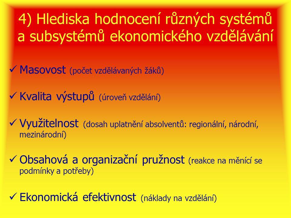 4) Hlediska hodnocení různých systémů a subsystémů ekonomického vzdělávání