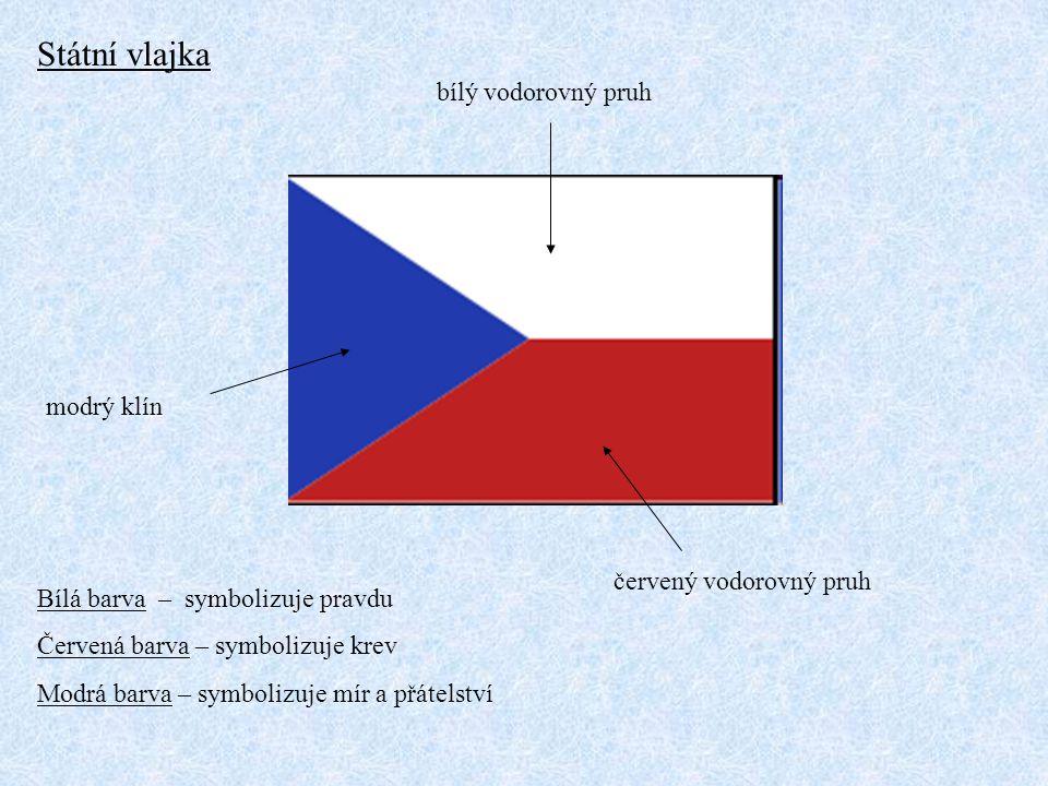 Státní vlajka bílý vodorovný pruh modrý klín červený vodorovný pruh