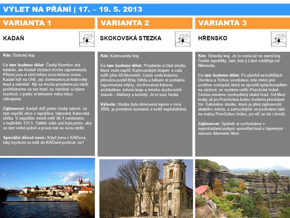 VÝLET NA PŘÁNÍ | 17. – 19. 5. 2013 VARIANTA 1 VARIANTA 2 VARIANTA 3