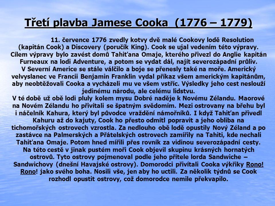 Třetí plavba Jamese Cooka (1776 – 1779)