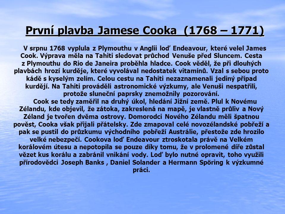 První plavba Jamese Cooka (1768 – 1771)