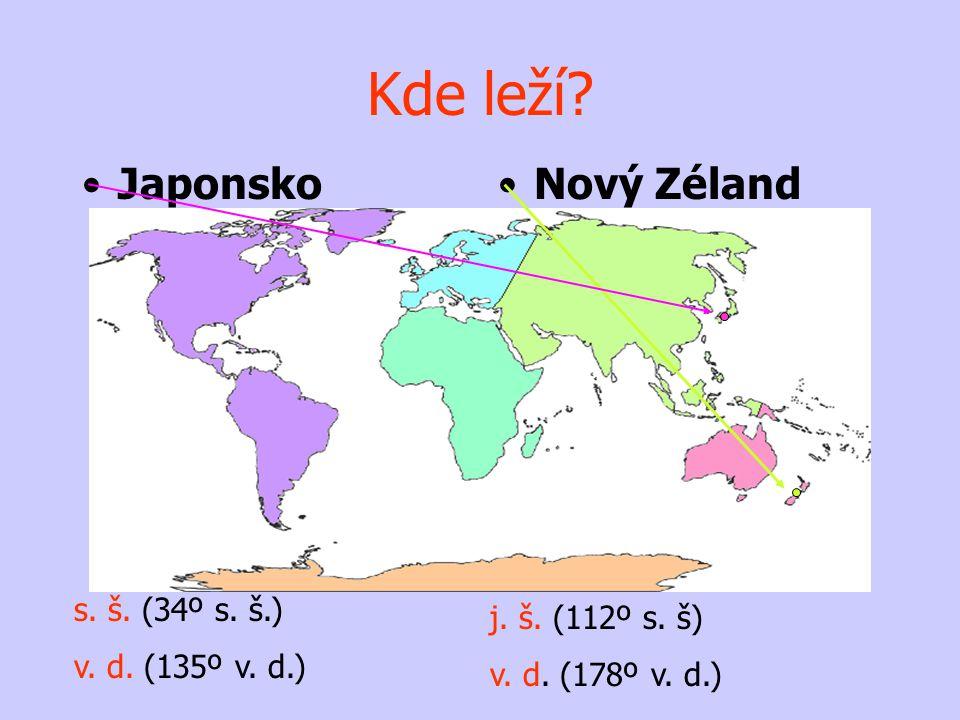 Kde leží Japonsko Nový Zéland s. š. (34º s. š.) j. š. (112º s. š)