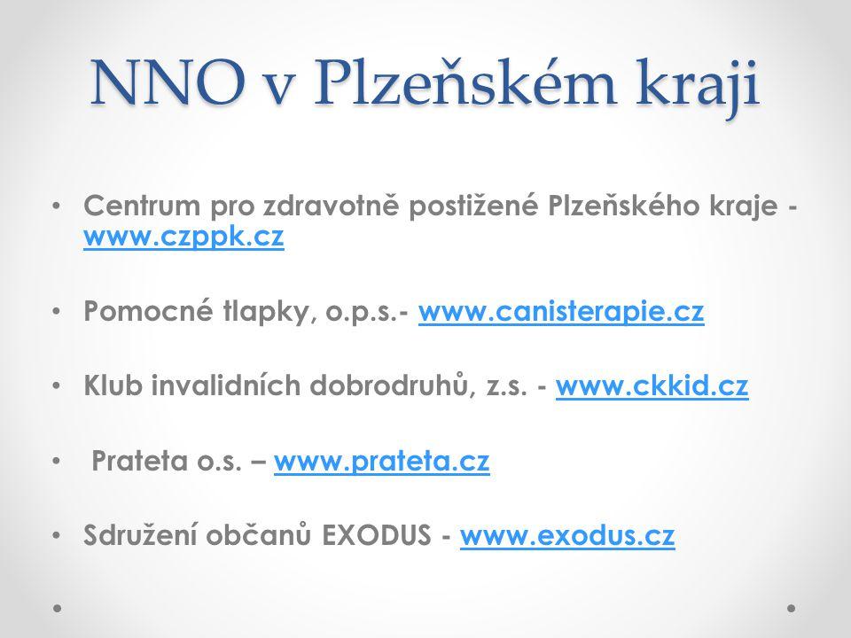 NNO v Plzeňském kraji Centrum pro zdravotně postižené Plzeňského kraje - www.czppk.cz. Pomocné tlapky, o.p.s.- www.canisterapie.cz.