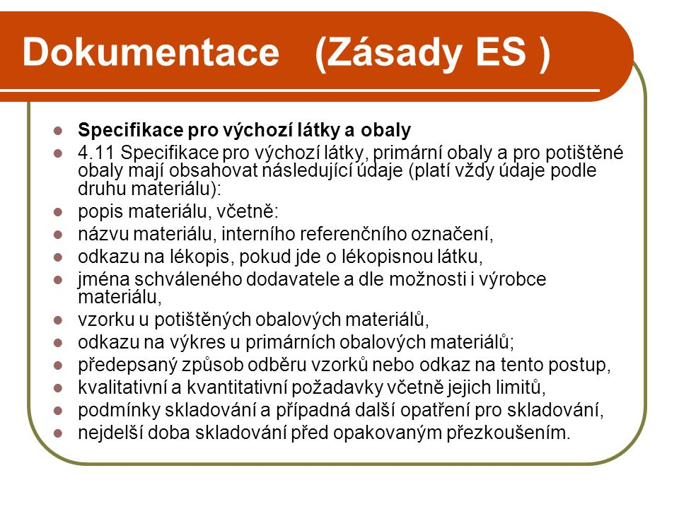 Dokumentace (Zásady ES )
