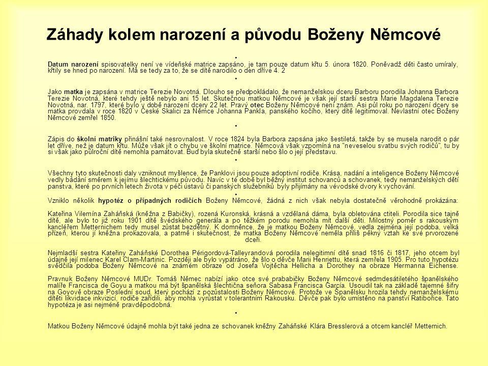 Záhady kolem narození a původu Boženy Němcové