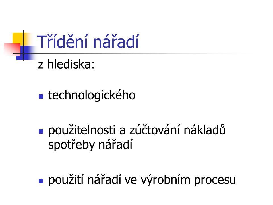 Třídění nářadí z hlediska: technologického