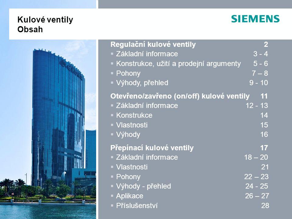 Kulové ventily Obsah Regulační kulové ventily 2