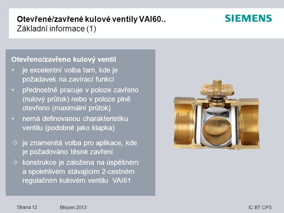 Otevřené/zavřené kulové ventily VAI60.. Základní informace (1)