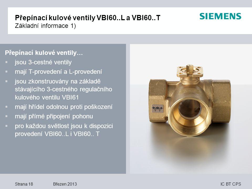 Přepínací kulové ventily VBI60..L a VBI60..T Základní informace 1)
