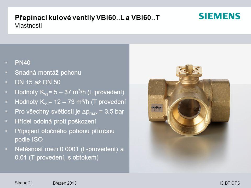 Přepínací kulové ventily VBI60..L a VBI60..T Vlastnosti