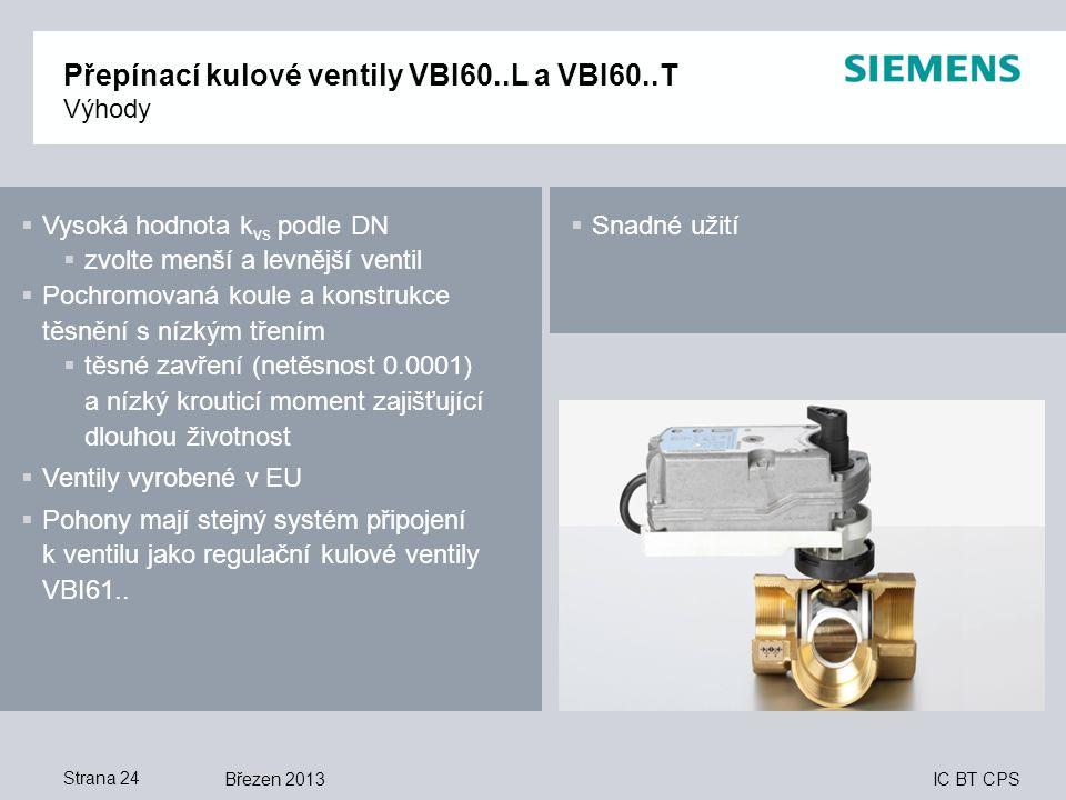 Přepínací kulové ventily VBI60..L a VBI60..T Výhody