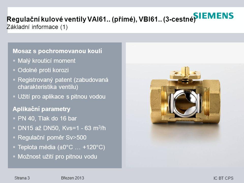 Regulační kulové ventily VAI61. (přímé), VBI61