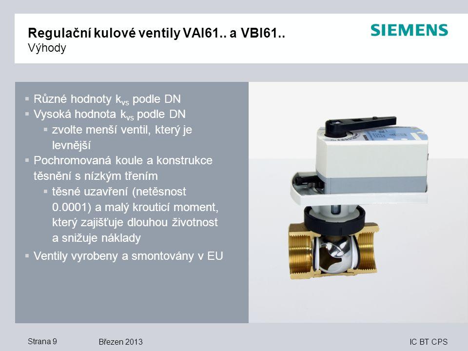 Regulační kulové ventily VAI61.. a VBI61.. Výhody