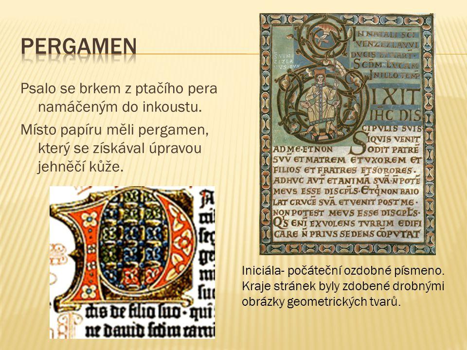 Pergamen Psalo se brkem z ptačího pera namáčeným do inkoustu.