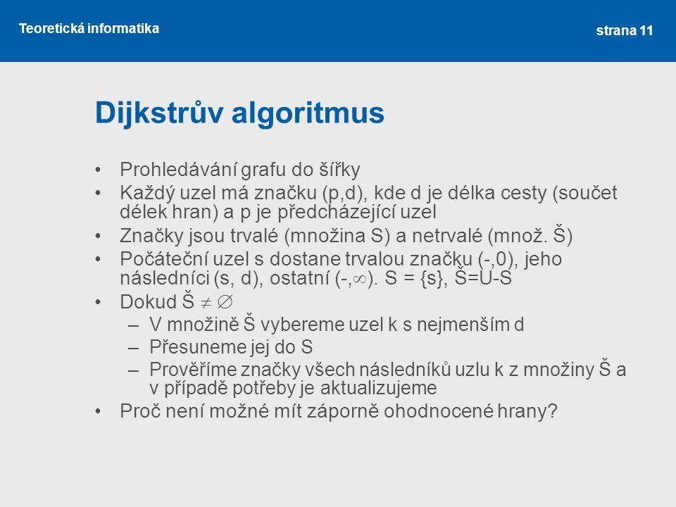 Dijkstrův algoritmus Prohledávání grafu do šířky