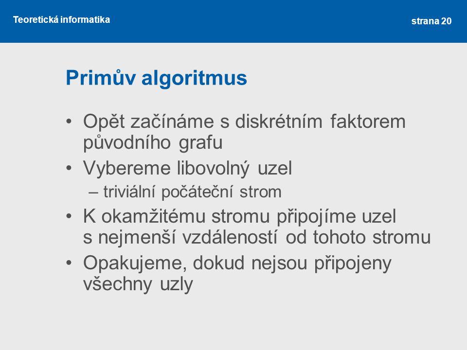 Primův algoritmus Opět začínáme s diskrétním faktorem původního grafu