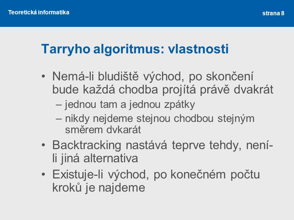 Tarryho algoritmus: vlastnosti