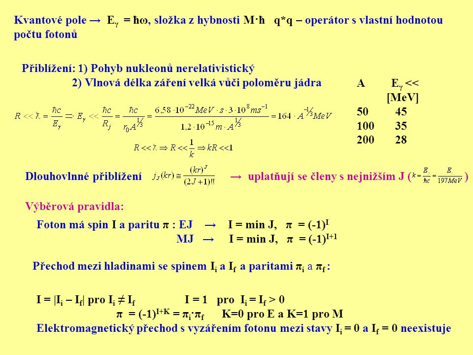Kvantové pole → Eγ = ħω, složka z hybnosti M·ħ q