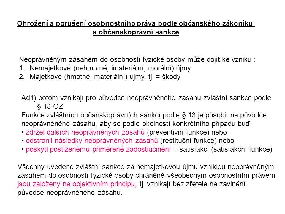 Ohrožení a porušení osobnostního práva podle občanského zákoníku