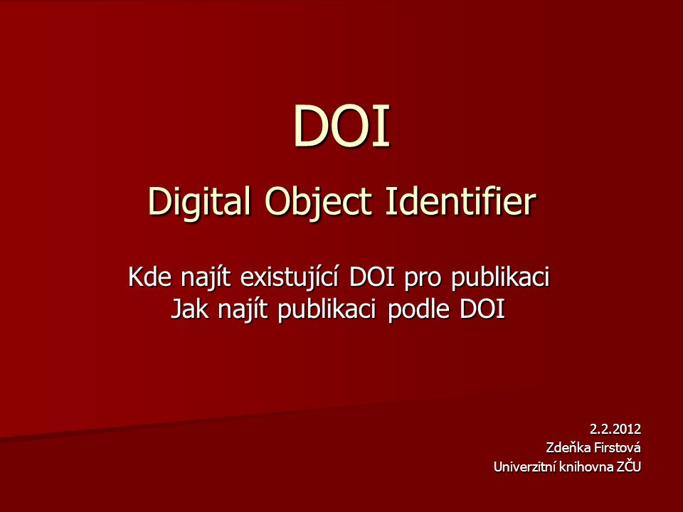 DOI Digital Object Identifier