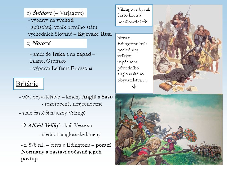 Británie b) Švédové (= Varjagové) - výpravy na východ