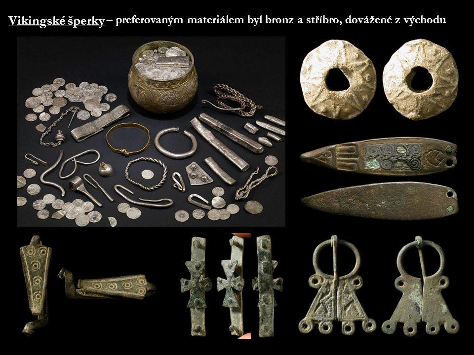 Vikingské šperky – preferovaným materiálem byl bronz a stříbro, dovážené z východu