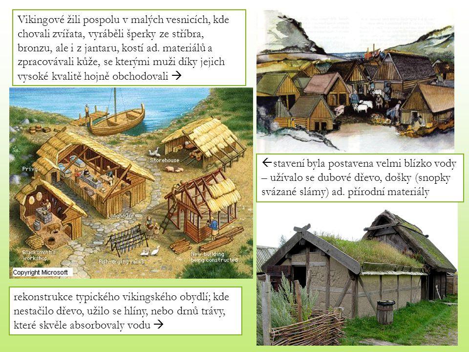 Vikingové žili pospolu v malých vesnicích, kde chovali zvířata, vyráběli šperky ze stříbra, bronzu, ale i z jantaru, kostí ad. materiálů a zpracovávali kůže, se kterými muži díky jejich vysoké kvalitě hojně obchodovali 