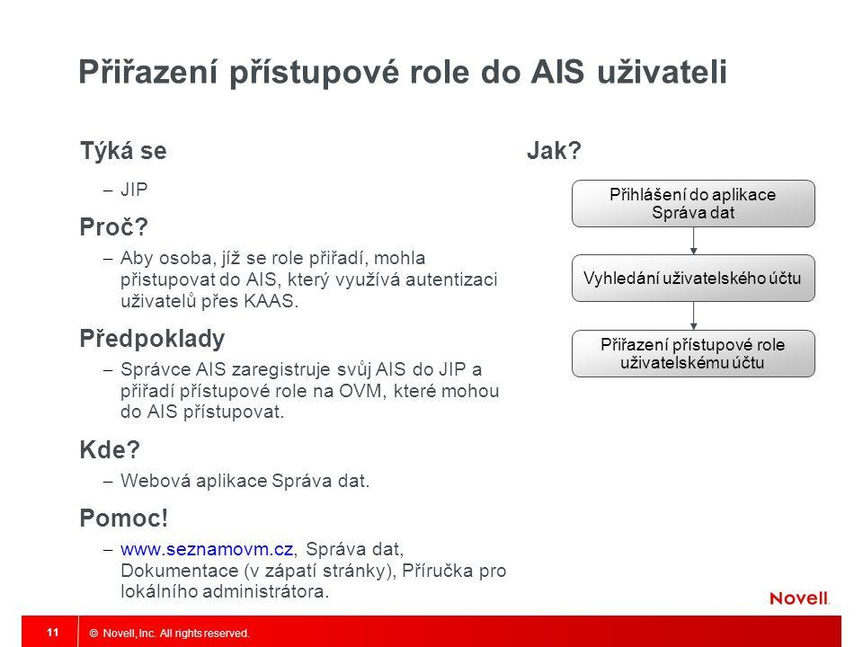 Přiřazení přístupové role do AIS uživateli